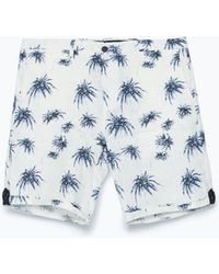 Zara Printed Shorts With Tabs - Lyst
