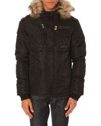 Schott Nyc Scratch Black Nylon Military Parka With Fur Hood - Lyst