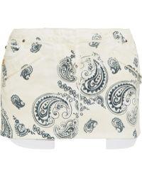 Balmain Paisley-Print Denim Mini Skirt - Lyst