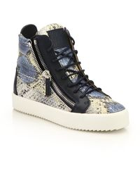 Giuseppe Zanotti | Snake-embossed Leather High-top Zip Sneakers | Lyst