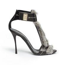 Nicholas Kirkwood Fur Trim Ankle Strap Sandals - Lyst