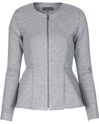Topshop Petite Slim Peplum Zip Jacket  Grey Marl - Lyst