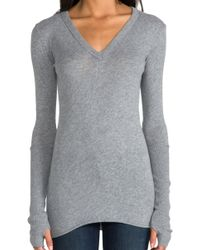 Enza Costa Cashmere Fitted Cuffed V Neck Sweater in Gray - Lyst