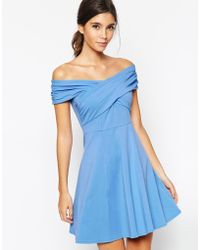 Asos Bardot Skater Dress With Cross Front And Ruched Detail blue - Lyst