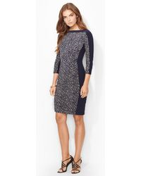Lauren by Ralph Lauren Cropped-sleeve Jersey Dress - Lyst