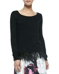Milly Ostrich Plume Pullover Sweater Black Petite - Lyst