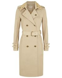 MICHAEL Michael Kors Studded Collar Sateen Trench Coat - Lyst