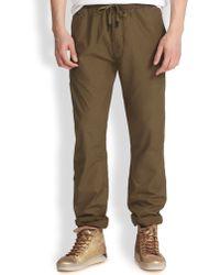 Diesel Cotton Drawstring Pants green - Lyst