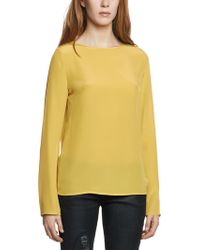 Patrizia Pepe Long Sleeve Silk Tunic Top - Lyst