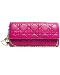 Dior Pre-Owned Pink Lambskin Rendezvous Chain Wallet - Lyst