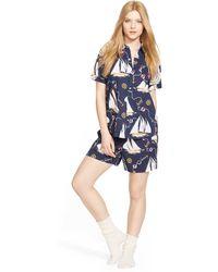 Ralph Lauren Cotton Pajama Short Set blue - Lyst