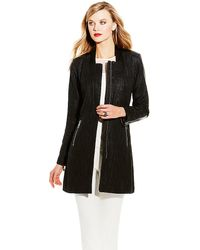 Vince Camuto Black Tweed Coat - Lyst