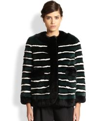 Marc Jacobs Striped Rex Rabbit Fur Jacket - Lyst