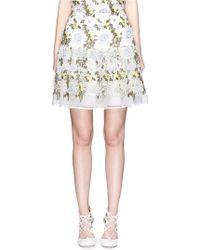 Erdem   'bella' Floral Embroidery Silk Organza Skirt   Lyst