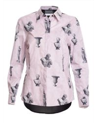 Antipodium - Arial Shirt In Mauve Grey & Black Print By - Lyst