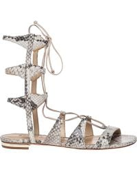 Schutz Elina Snake Print Lace-Up Sandals animal - Lyst