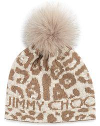 Jimmy Choo Woven Knit Cap W Fur Pompom - Lyst