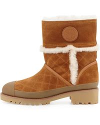 Tory Burch Boughtron Shearling Fur Lined Logo Boot - Lyst