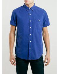 Topman Blue Twill Short Sleeve Shirt - Lyst