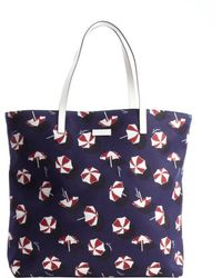 Gucci Blue and Whtie and Red Umbrella Printed Canvas Shopping Tote with Leather Top Handles - Lyst