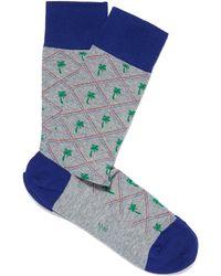 Smythson - Grey Palm Tree Socks - Lyst