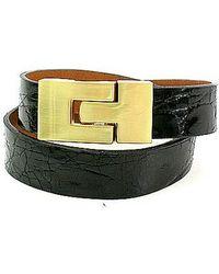 Leighelena - Double Premium Black Crocodile Bracelet - Lyst