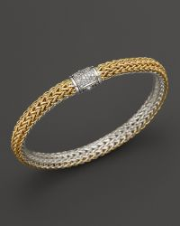 John Hardy Classic Chain 18k Gold and Sterling Silver Small Reversible Bracelet with Pavé Diamonds - Lyst
