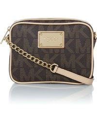 Michael Kors Jet Set Item Brown Logo Cross Body Bag - Lyst