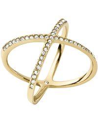 Michael Kors Gold-Tone And Glitz X Ring - Lyst