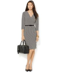 Lauren by Ralph Lauren Houndstooth-print Faux-wrap Dress - Lyst