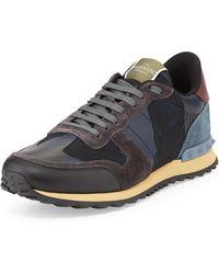 Valentino Mens Rockrunner Camo-print Sneaker - Lyst