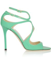 Jimmy Choo Lang Patent-Leather Sandals - Lyst