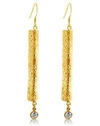 Belcho - Textured Folded Bar Cz Drop Earrings - Lyst
