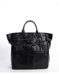 Balenciaga Black Textured Leather Side Buckle Top Handle Bag - Lyst