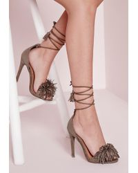 bf90c23e767 Missguided - Tassel Detail Lace Up Heeled Sandals Taupe - Lyst