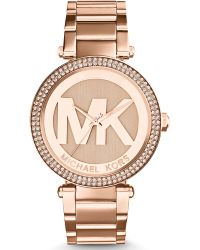 Michael Kors Ladies Rose Gold-tone Parker Glitz Watch - Lyst