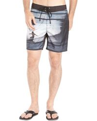 Sundek Black and Grey Surf Board Print Woven Low Rise Board Shorts - Lyst