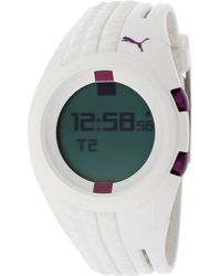 PUMA - Womens Dont Run Out Of Steam Multifunction Grey Digital Dial White Silicone Watch - Lyst