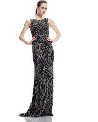 Theia | silver Floral Art Nouveau Gown | Lyst