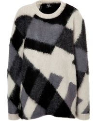 McQ by Alexander McQueen Mohair Silk Wool Colorblock Pullover - Lyst