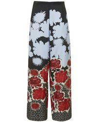 Topshop Dark Floral Wide Leg Trousers - Lyst