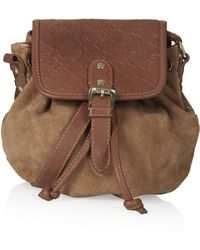 Topshop Embossed Suede Crossbody Bag - Tan - Lyst