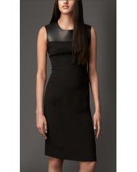 Burberry Leather Panel Silk Shift Dress - Lyst