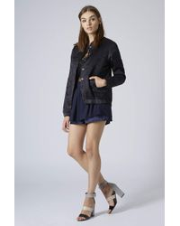 Topshop Womens Satin Embroidered Bomber Jacket Indigo - Lyst
