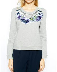 Emma Cook - Sweatshirt with Embellished Snake Neckline - Lyst