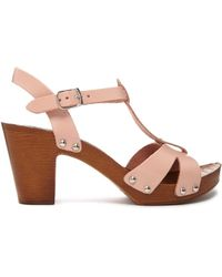 Asos Holland Leather Tbar Heeled Sandals - Lyst