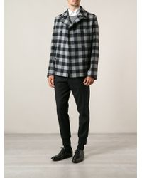 Ermanno Scervino Checked Peacoat - Lyst