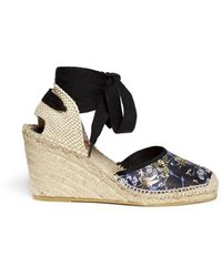 Ash Wanda' Dragonfly Print Leather Espadrille Wedge Sandals - Lyst