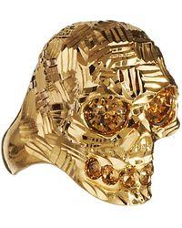 Alexander McQueen Small Textured Metal Skull Ring - Lyst