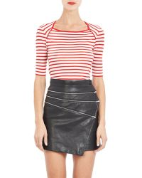 Saint Laurent Stripe Three-Quarter Sleeve Sweater - Lyst